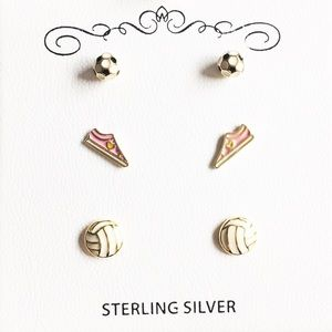 Children's Tri-Tone Earrings in Sterling Silver